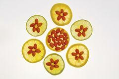 Medizinische orange Frucht und Zitrone Lizenzfreie Stockfotos
