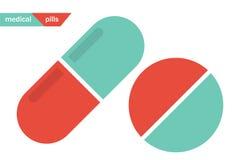 Medizinische Pillen Pillen- und Kapselikonen vektor abbildung