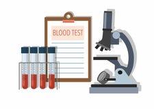 Medizinische Reagenzgläser mit Blut im Halter, in den Testergebnissen und im Mikroskop auf Weiß lizenzfreie abbildung