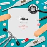 Medizinische Schablone mit Medizinausrüstung Lizenzfreies Stockbild