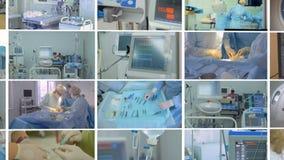 Medizinische Szene Videowand, multiscreen Montage der medizinischen Gesamtlänge stock footage