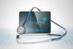 Medizinische Tablette auf futuristischem Hintergrund Stockbilder
