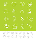 Medizinische u. Gesundheitspflegeikonen Lizenzfreie Stockfotografie