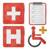 Medizinische u. Gesundheitspflegemarke aufbereitete Papierfertigkeit. Lizenzfreie Stockfotografie