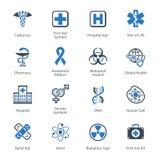 Medizinische u. Gesundheitswesen-Ikonen stellten 1 - blaue Reihe ein Stockfotos
