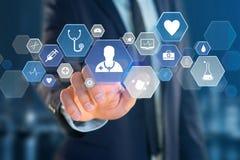 Medizinische und allgemeine Gesundheitswesenikone herein angezeigt auf einer Technologie Lizenzfreies Stockfoto
