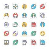 Medizinische und Gesundheits-kühle Vektor-Ikonen 1 Stockbilder