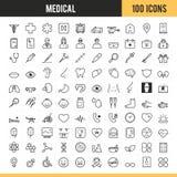 Medizinische und Gesundheitspflege Ikonen Auch im corel abgehobenen Betrag Lizenzfreie Stockfotos