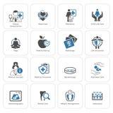 Medizinische und Gesundheitswesenikonen eingestellt Flaches Design Stockbild