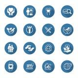 Medizinische und Gesundheitswesenikonen eingestellt Flaches Design Stockbilder