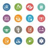 Medizinische und Gesundheitswesenikonen eingestellt Flaches Design Lizenzfreie Stockbilder