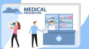 Medizinische Verordnung Apothekerchemikermann in der Apotheke Mann kauft Drogen an der Apotheke Medizin, Gesundheitswesen vektor abbildung