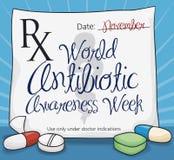Medizinische Verordnung mit den Pillen, die Weltantibiotische Bewusstseins-Woche, Vektor-Illustration gedenken lizenzfreie abbildung