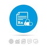 Medizinische Verordnung Rx-Zeichenikone apotheke lizenzfreie abbildung