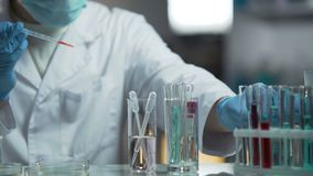 Medizinischer Analytiker, der biochemische Forschung von Blutproben an seinem Labor tut stock video