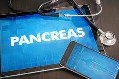 Medizinischer Betrug der Diagnose des Pankreas (in Verbindung stehendes Organ der endokrinen Krankheit) lizenzfreies stockbild