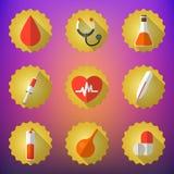 Medizinischer flacher Vektor-Ikonen-Satz Schließen Sie Herz, Blutstropfen, Flasche ein, Lizenzfreie Stockfotos