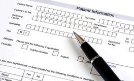 Medizinischer Fragebogen Stockfotos
