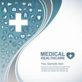 Medizinischer Gesundheitswesenhintergrund, Kreisikonen, zum Herz zu werden und der Linie wellenartig zu bewegen Stockfotos