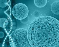 medizinischer Hintergrund 3D mit Virus Zellen und DNA-Strängen Stockfotografie