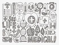 Medizinischer Hintergrund des Gekritzels Lizenzfreie Stockbilder