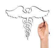 Medizinischer Hintergrund des Handabgehobenen betrages lizenzfreie stockbilder