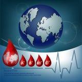 Medizinischer Hintergrund mit Blutgruppeikone Stockfotos