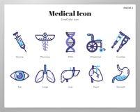 Medizinischer Ikonen LineColor-Satz lizenzfreie abbildung