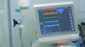 Medizinischer Monitor und ein Tropfenzähler stock video