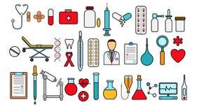 Medizinischer pharmazeutischer großer Satz medizinische Einzelteile, Ausrüstung, Einzelteile von Ikonen auf einem weißen Hintergr stock abbildung