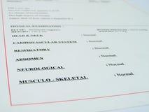 Medizinischer Report Stockbild