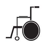 Medizinischer Rollstuhlikonenschwarzweiss-vektor lokalisiert im weißen Hintergrund Stockfotografie