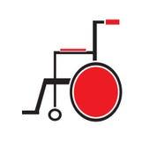 Medizinischer Rollstuhlikonenvektor lokalisiert im weißen Hintergrund Lizenzfreie Stockfotos