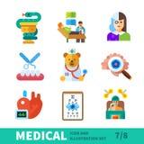 Medizinischer Satz, Gesundheitswesensymbole Lizenzfreie Stockbilder
