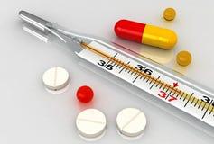 Medizinischer Thermometer und Pillen Lizenzfreie Stockfotografie