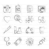 Medizinischer und des Gesundheitswesens Ikonen des Krankenhauses, Lizenzfreie Stockfotos