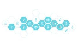 Medizinischer und Gesundheitsikonen-Vektorhintergrund Lizenzfreie Stockfotografie