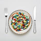 Medizinisches Abendessenset Stockfotos