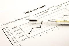 Medizinisches Diagramm mit Thermometer Stockbild