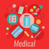 Medizinisches flaches Plakat Lizenzfreies Stockbild