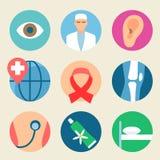 Medizinisches Ikonen-Set Gesundheitswesen, Medizinservice-Krankenhausarzt Stockfoto