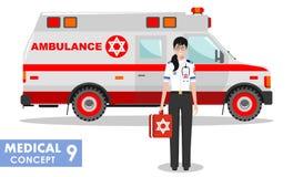 MEDIZINISCHES Konzept Ausführliche Illustration jüdischen Notdoktorfrau und des Krankenwagenautos in der flachen Art auf Weiß Lizenzfreies Stockbild