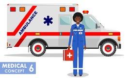 MEDIZINISCHES Konzept Ausführliche Illustration von Afroamerikanernotdoktorfrau und von Krankenwagenauto in der flachen Art an Lizenzfreies Stockbild