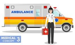 MEDIZINISCHES Konzept Ausführliche Illustration von Notdoktorfrau und -krankenwagen Lizenzfreie Stockfotografie