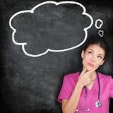 Medizinisches Konzept - denkende Krankenschwesterdoktortafel lizenzfreies stockbild