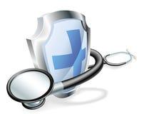 Medizinisches Konzept des Schildstethoskops Lizenzfreie Stockfotos