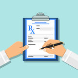 Medizinisches Konzept mit Verordnung auf rx Form lizenzfreie abbildung