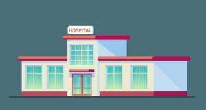 Medizinisches Krankenhausgebäude Stadtzentrum für medizinische Behandlung für Patienten Notkrankenhaus Flache Vektor-Art-Illustra stock abbildung