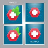 Medizinisches Kreuz- und Grünblattemblem Symbol gesund Gesundheitswesenikone Medizinzeichen Vektor vektor abbildung