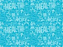 Medizinisches Muster des nahtlosen Gekritzels Stockfoto